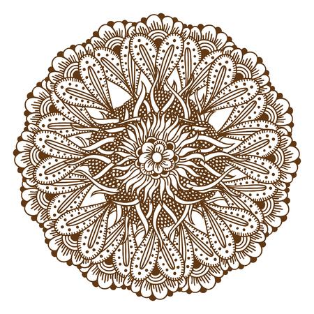 Circular floral ornament Mehndi Henna Tattoo Mandala, Yantra brown. Vintage vector banner frame card for text invitations for wedding birthday celebration, white background indian, ethnic, boho