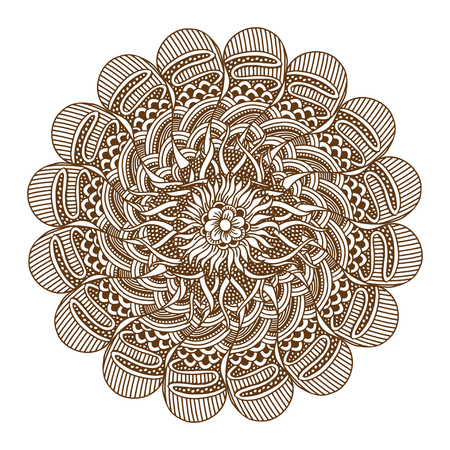 yantra: Circular floral ornament Mehndi Henna Tattoo Mandala, Yantra brown. Vintage vector banner frame card for text, invitations for wedding, birthday celebration, white background, in indian style, ethnic