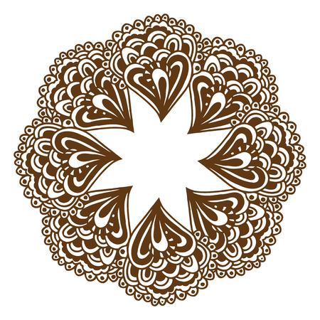 genuine: Circular floral ornament Mehndi Henna Tattoo Mandala, Yantra brown. Vintage vector banner frame card for text, invitations for wedding, birthday celebration, white background, in indian style, ethnic