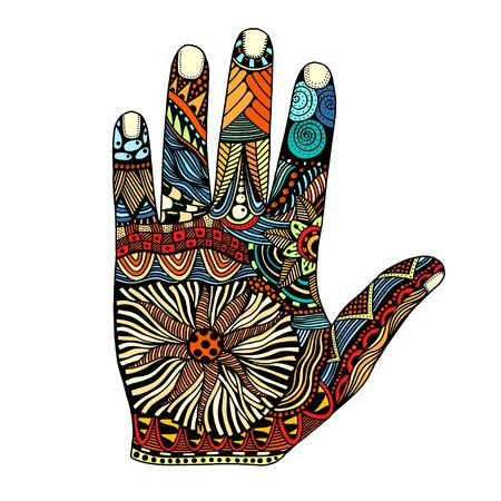 palmistry: Colored Floral palm, hand drawn zentangle style for our design. Vector illustration, Isolated on white Illustration