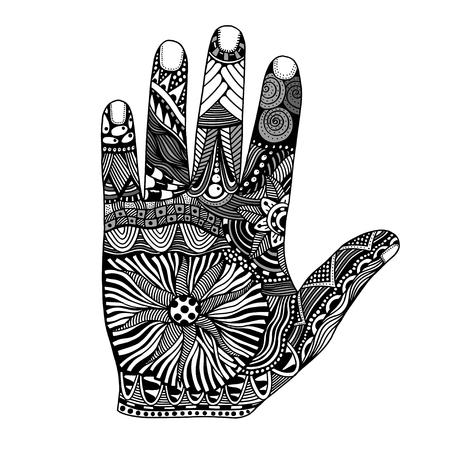 palmistry: Monochrome Floral palm, hand drawn zentangle style for our design. Vector illustration, Isolated on white Illustration