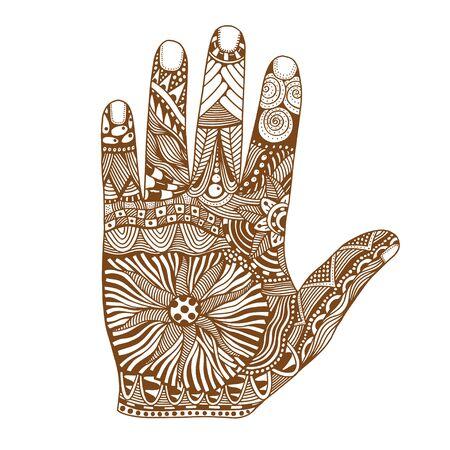 Brown Floral palm, hand drawn zentangle style for our design. Vector illustration, Isolated on white Illustration