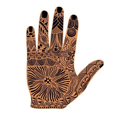 palmistry: Brown Floral palm, hand drawn zentangle style for our design. Vector illustration, Isolated on white Illustration