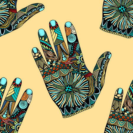 palmistry: Seamless Colored Floral palm background, hand drawn zentangle style for our design. Vector illustration