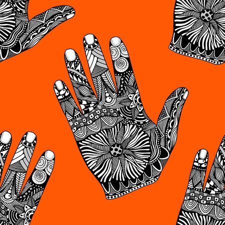 palmistry: Seamless Floral palm background, hand drawn zentangle style for our design. Vector illustration
