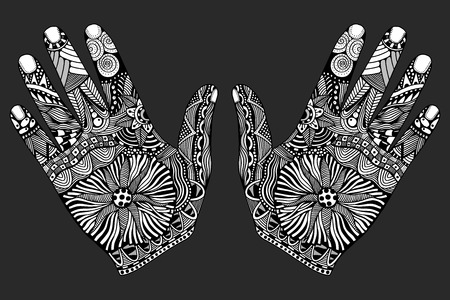 palmistry: Two Monochrome Floral palm, hand drawn zentangle style for our design. Vector illustration, Isolated on white