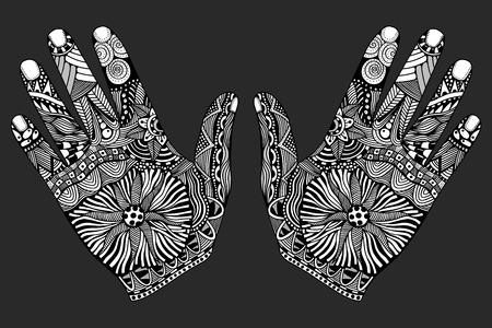 Zwei monochrome Blumen Palme, Handzentangle Art für unser Design gezeichnet. Vektor-Illustration, isoliert auf weißem