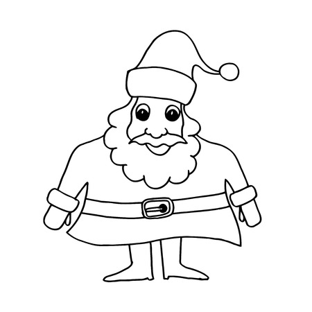 cartoon santa clause: Cartoon Santa Clause for Christmas greeting Cards and invitations. Hand drawn doodle vector illustration. Illustration