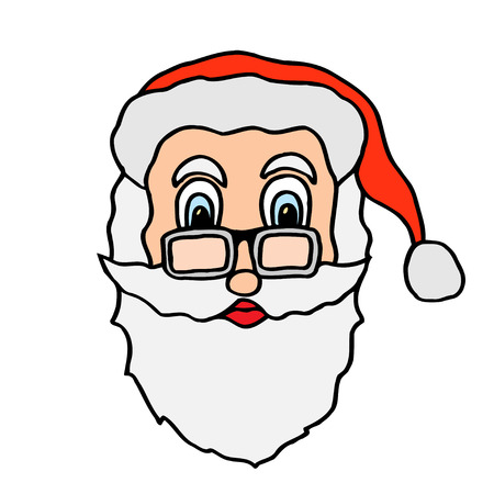 santa claus face in glasses freehand drawn cartoon illustration Illustration