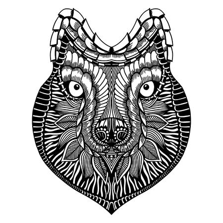 tigre cachorro: Zentangle estilizado cara del lobo. Ilustración del vector del Doodle dibujado a mano. Alta croquis detallado para el tatuaje o makhenda. Colección animal. Camiseta estampada.