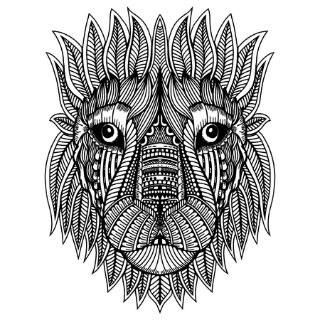 Doodle Lion head vector illustration. Black and white hand drawn head of a lion