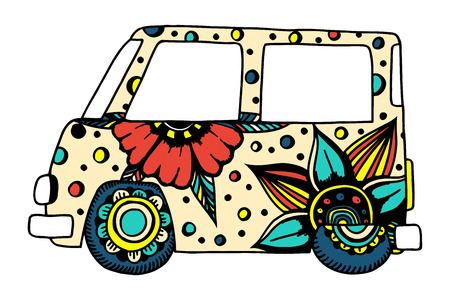 Funny car a mini van for adult anti stress. Coloring page with high details. Made by trace from sketch. Hippy color vector illustration.