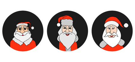 old man portrait: Santa Claus colorful round icons set. Old man with White Beard in Santa Cap. Digital background vector illustration.