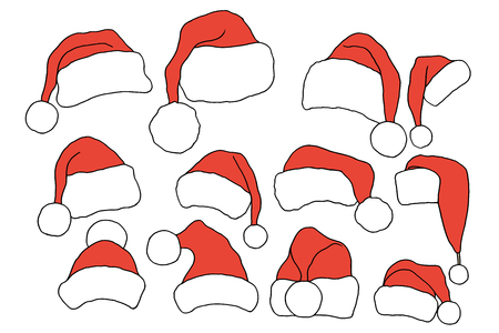 christmas hats: Set doodle Christmas hats for your creativity. Vector illustration