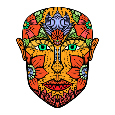 black men: man face of flowers. Coloring book page for adult. Vector artwork. Hand drawn amazing portrait. Love bohemia concept for wedding invitation, card, ticket, branding, boutique logo, label