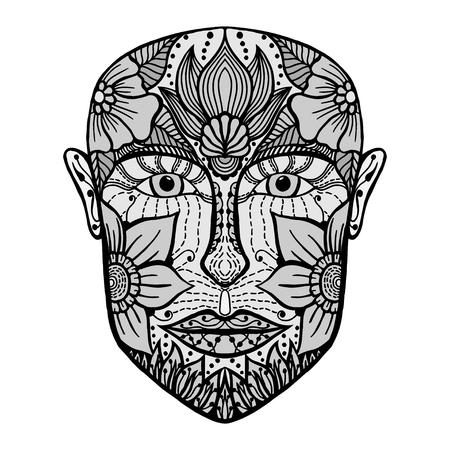 Monochrome homme visage de fleurs. Coloriage page de livre pour adultes. Vector illustration. dessiné à la main portrait étonnant. Love concept bohême pour invitation de mariage, carte, billet, image de marque, boutique logo, étiquette