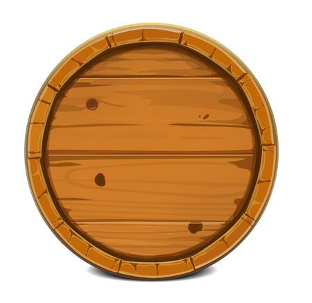 Ronde houten vat. Vector illustratie achtergrond. Op wit wordt geïsoleerd Stock Illustratie