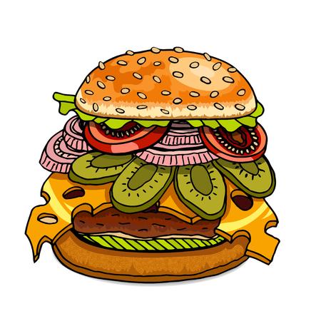 Hamburger. Ilustracja wektorowa Eps10. Na białym tle