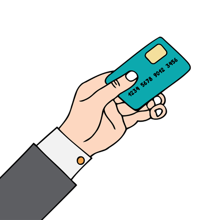 Vector illustration of a hand with card on white