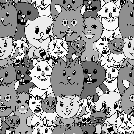 grappling: Cute cats Monochrome seamless pattern background. Vector illustration of funny cat. Hand drawn art sketch cat.