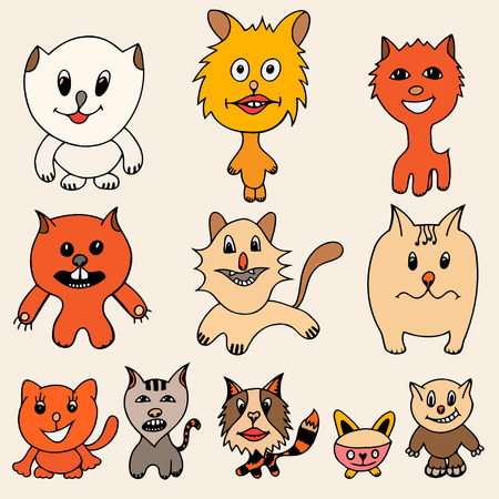 grapple: Set of cute cat cartoon. Vector illustration of funny colored cat. Hand drawn art sketch cat.