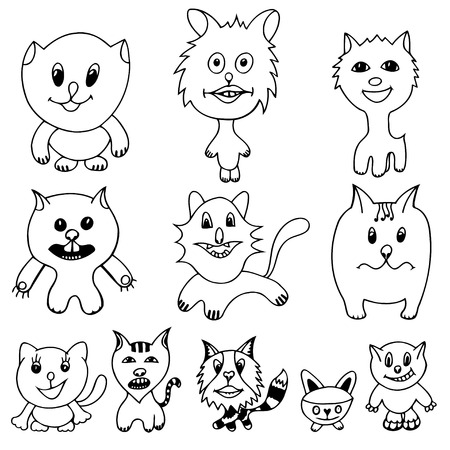 grappling: Set of cute cat cartoon. Vector illustration of funny Monochrome cat. Hand drawn art sketch cat.