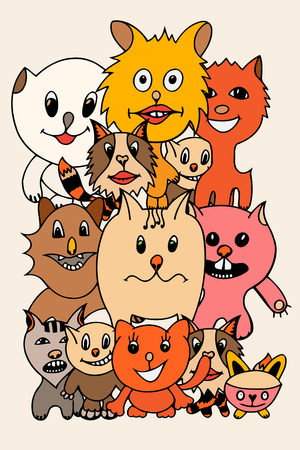 grappling: Set of cute cat cartoon. Vector illustration of funny colored cat. Hand drawn art sketch cat.