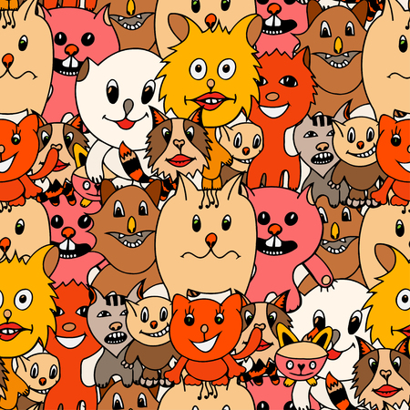 grappling: Cute cats colorful seamless pattern background. Vector illustration of funny colored cat. Hand drawn art sketch cat.