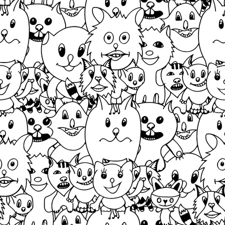 grapple: Cute cats Monochrome seamless pattern background. Vector illustration of funny cat. Hand drawn art sketch cat.