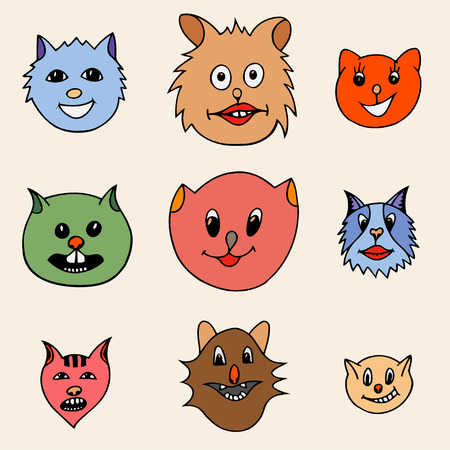 grappling: Set Of Different Adorable Cartoon Cats Faces. Colored Vector illustration. Hand drawn art sketch cat.