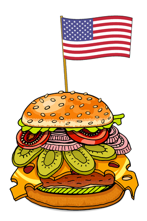 sesame: Realistic hamburger with cheese cucumber and tomato. Cheeseburger with usa flag as american food symbol. Hand drawn sketch of hamburger food. Vector illustration