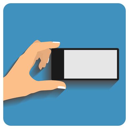 holing: Hand holing smartphone with blank screen. Using mobile smart phone, flat design concept. vector illustration Illustration