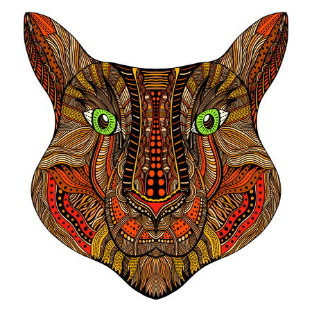 royal safari: Tiger head. Adult antistress coloring page. Colored hand drawn doodle animal. Ethnic patterned vector. African, indian, totem tribal, zentangle design. Sketch for tattoo, poster, print, t-shirt