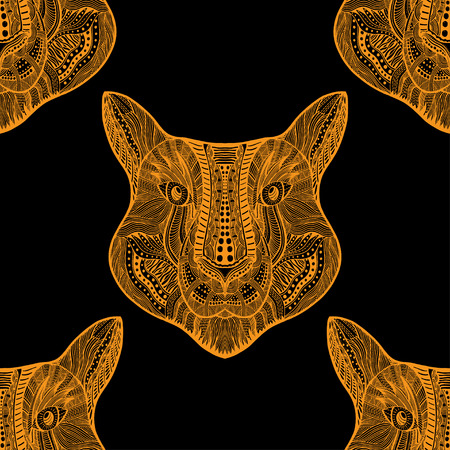 Black and yellow Seamless Tiger pattern. Vector illustration image