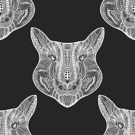 Black and white Seamless Tiger pattern. Vector illustration image