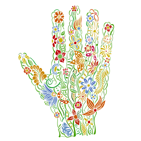 human hand of the beautiful painted flowers. Floral palm, hand drawn zentangle style for our design. Colored Vector illustration Illustration