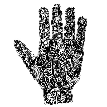 palmistry: Hand of the beautiful painted flowers. Floral palm, hand drawn zentangle style for our design. Monochrome Vector illustration