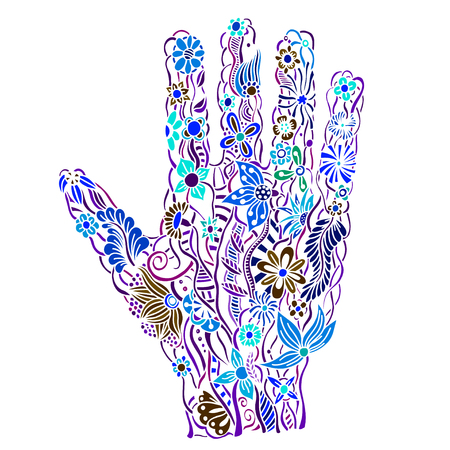 palmistry: human hand of the beautiful painted flowers. Floral palm, hand drawn zentangle style for our design. Colored Vector illustration Illustration