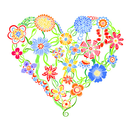 Funny greeting hearts, Heart of flower doodle. Vector illustration. Isolated on white.