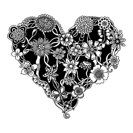 braided: Ornate floral heart for your design. Vector illustration Illustration