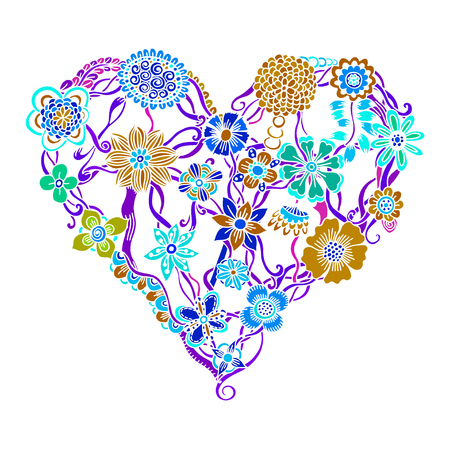 flower heart: Bright flower heart, psychedelic doodles. Vector illustration, isolated on white