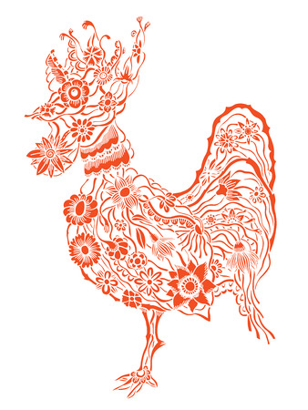 cock hand: Decorative Red cock. Hand drawn vector stock illustration. Colorful image. Year 2017 symbol. Illustration