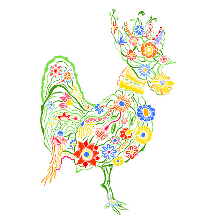 cock hand: Decorative cock. Hand drawn vector stock illustration. Colorful image. Year 2017 symbol.