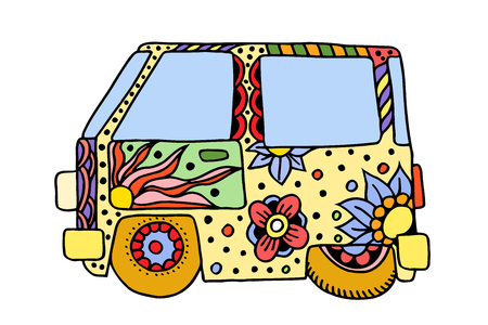 60s hippie: Hippie vintage car a mini van. Love and Music with hand-written fonts, hand-drawn doodle background and textures. Hippy color vector illustration. Retro 1960s, 60s, 70s, Woodstock Music and Art Fair.