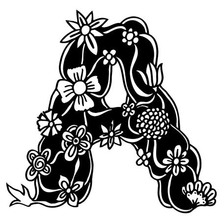 letras negras: Carta blanco y negro de flores y ramas. Bosquejo dibujado a mano ilustración vectorial A.