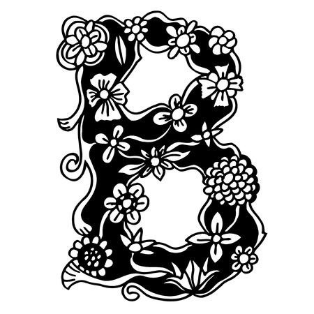 Black and white Letter of flowers and branches. Hand drawn doodle B. Vector illustration Illustration