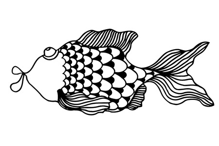 Line Art Of Fish : Cute little cat cartoon line art vector illustration royalty free