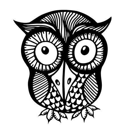 owl illustration: Hand drawn doodle outline owl illustration. Cute zentangle abstract owl Illustration