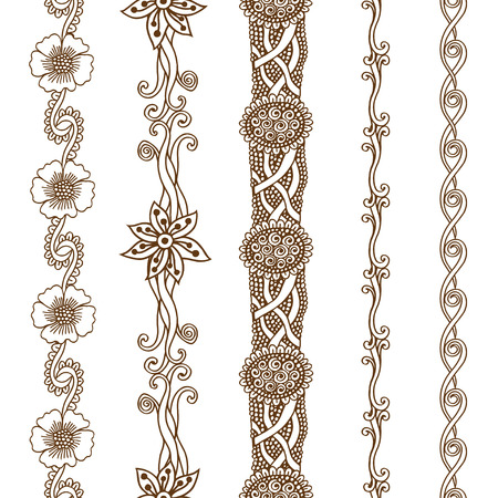 decoration style: Vector set vintage ornate borders. Hand drawn henna mehndi tattoo doodle borders