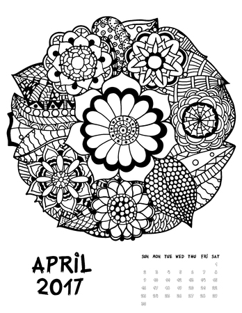 April 2017 calendar Zendoodle style, start on sunday, FSet of abstract flowers. Patterned zentangle, black and white. For Print anti-stress coloring books for different ages peoples. set #1